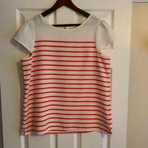 White and orange striped blouse from LOFT